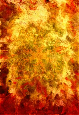 Abstract textured background with red, brown, and orange patterns on yellow backdrop