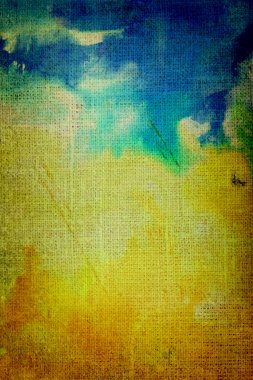 Old canvas: Abstract textured background with blue, brown, and orange patterns on yellow backdrop