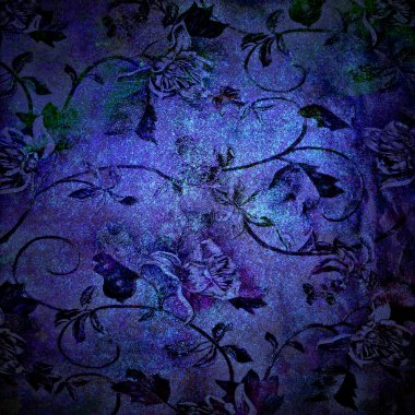 Abstract blue background or paper with grunge texture and floral patterns