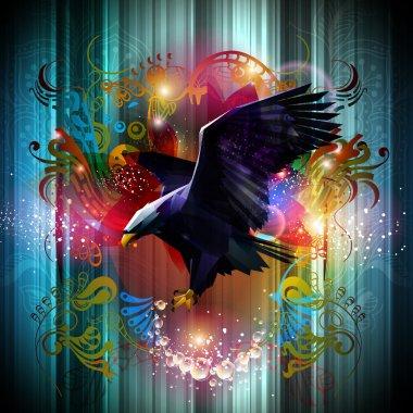 Eagle on blue floral background