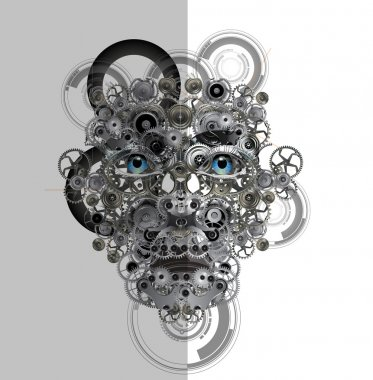 Face made from cogwheels
