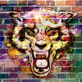 absztrakt állati arc a falon