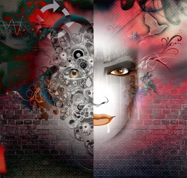 Abstract background with woman face stock vector