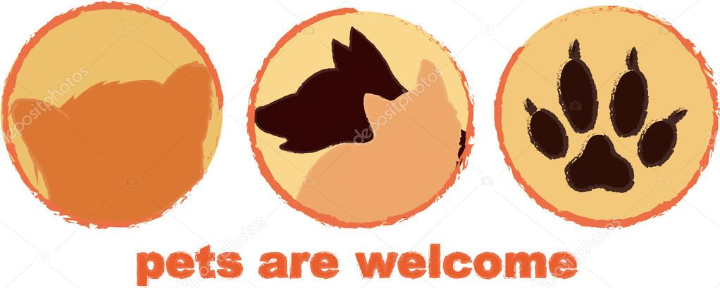 Pets are welcome door sign