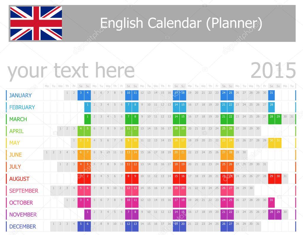 2015 englischen Planer Kalender mit horizontalen Monate ...