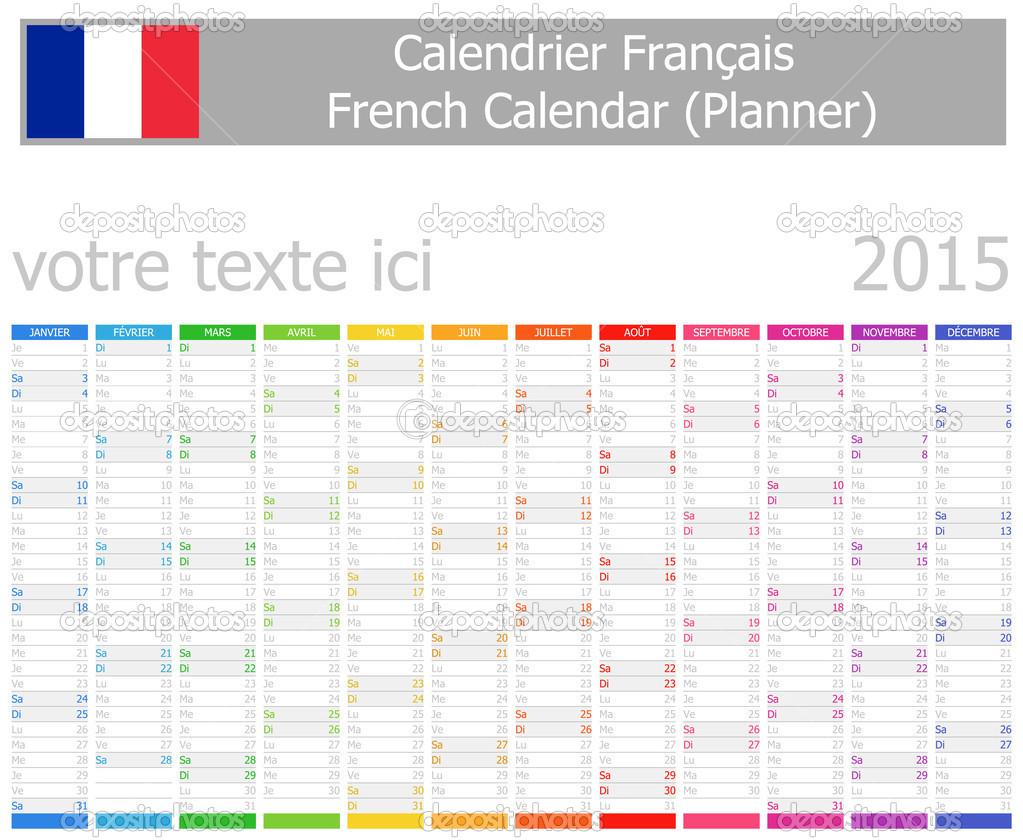 2015 französische Planer Kalender mit vertikalen Monate ...