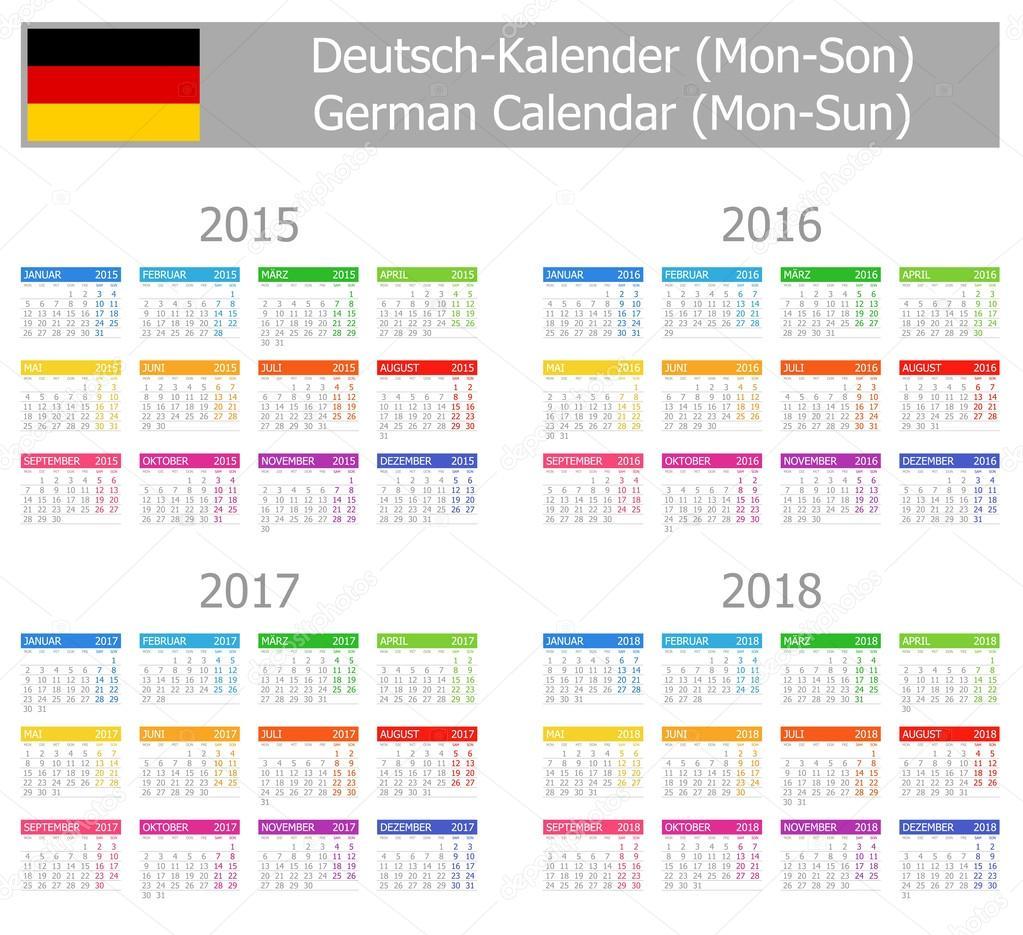 nemecky kalendar 2015 2018 type 1 německý kalendář po ne — Stock Vektor  nemecky kalendar