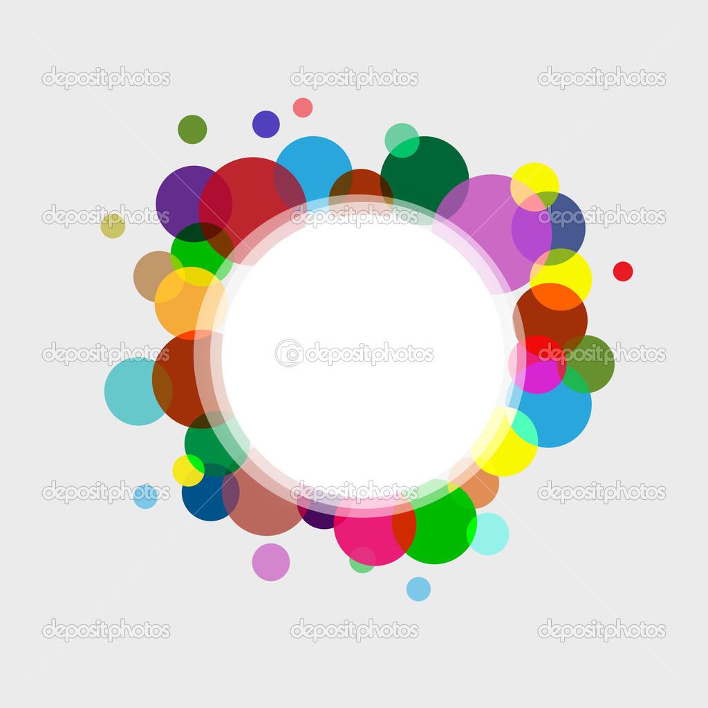 marco de círculo abstracto con círculos de colores y pequeña ...
