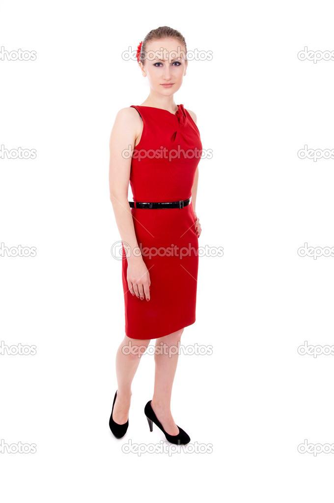 La Chica Del Vestido Rojo Posando Parado Fotos De Stock