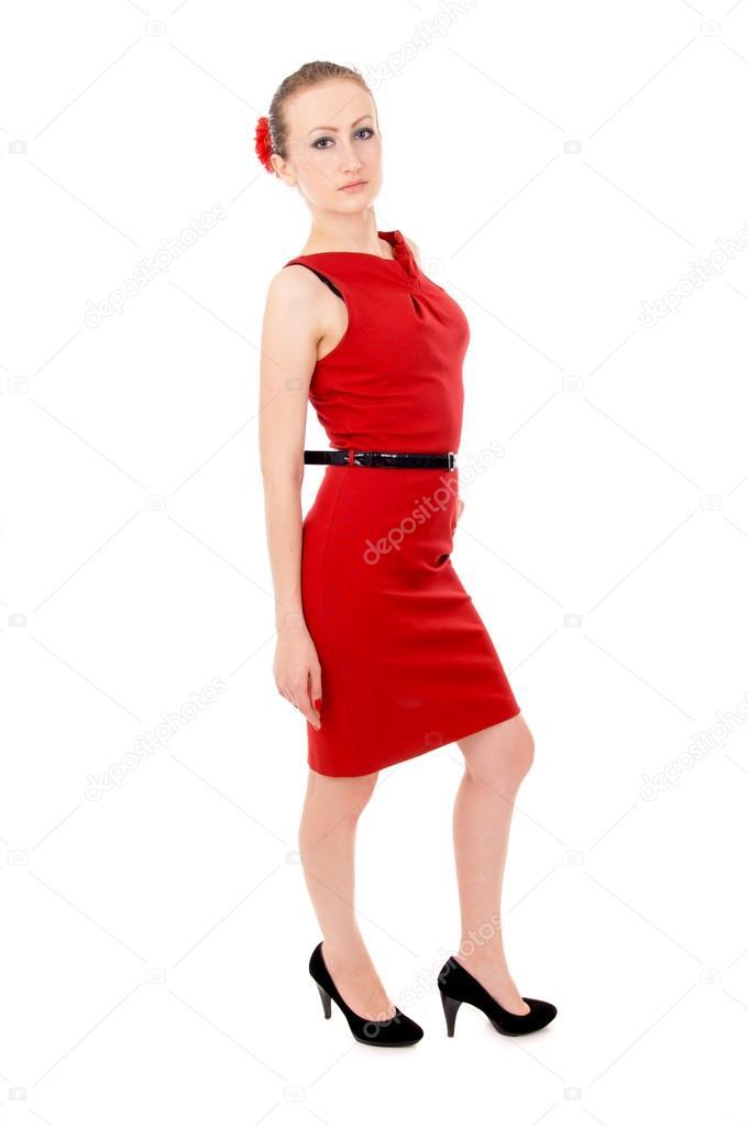 La Chica Del Vestido Rojo Posando Parado Foto De Stock