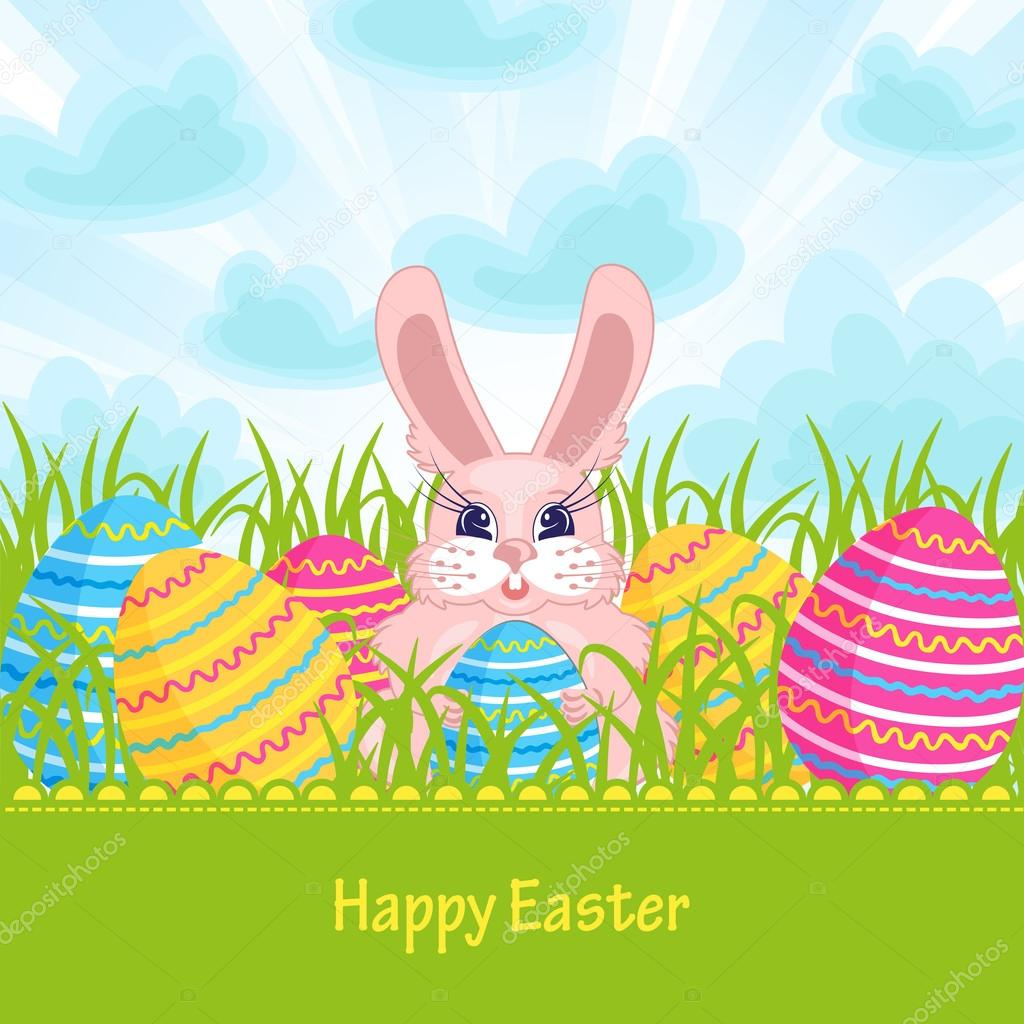 easter card with easter bunny and eggs u2014 stock vector osipovdim