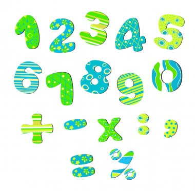 Colorful numbers for children bright green blue clip art vector
