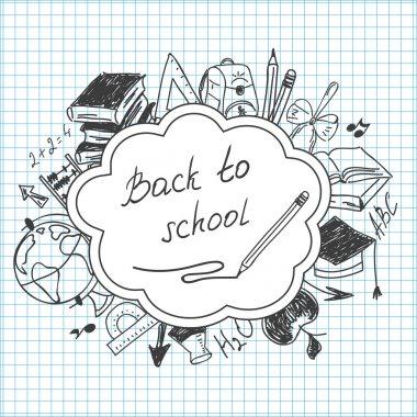 School background of school supplies