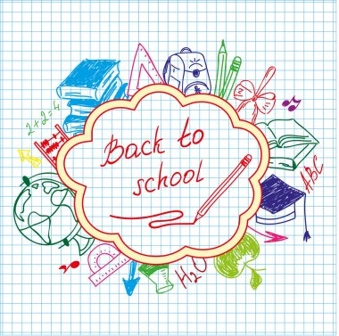back to school drawing by hand in a notebook