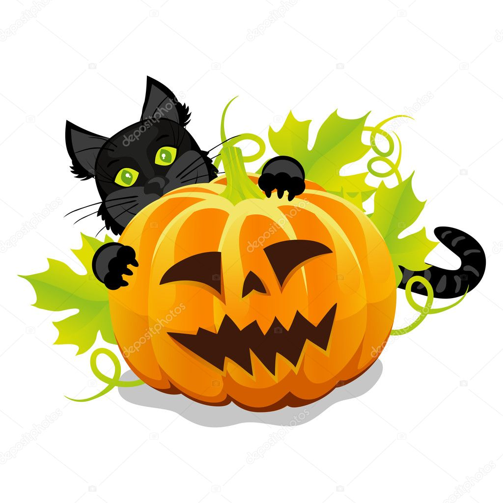 Evil Halloween Pumpkin And Black Cat U2014 Stock Vector