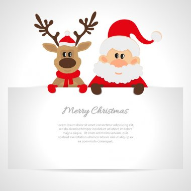 Santa Claus and reindeer greeting card with space for text stock vector