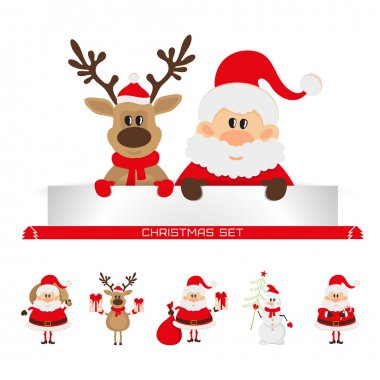 Santa Claus and reindeer with a place for text greeting card