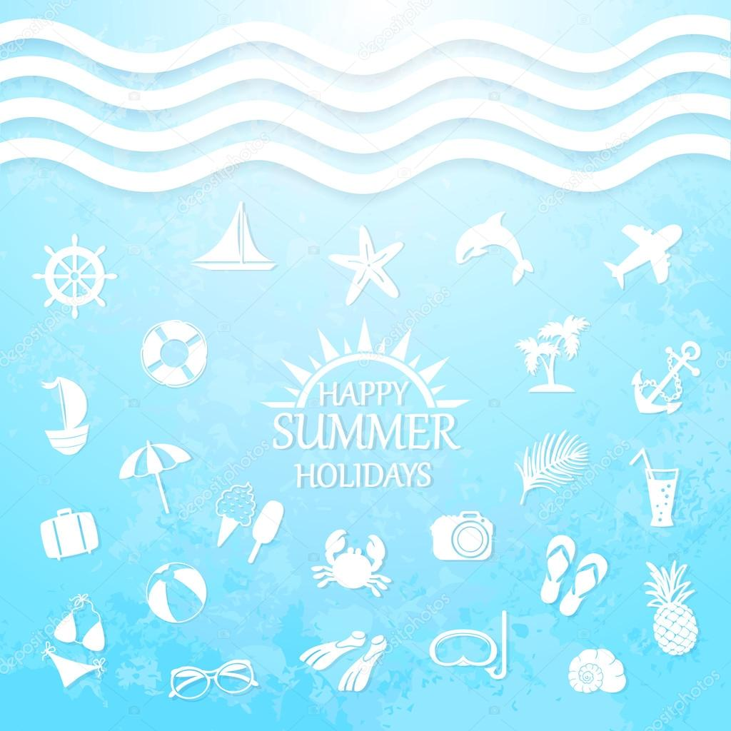 Happy summer holiday sea icons