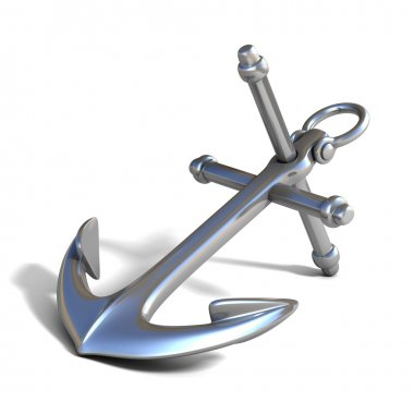 3d anchor on white background