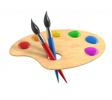 3d illustration of Wooden art palette with paints and brushes stock vector