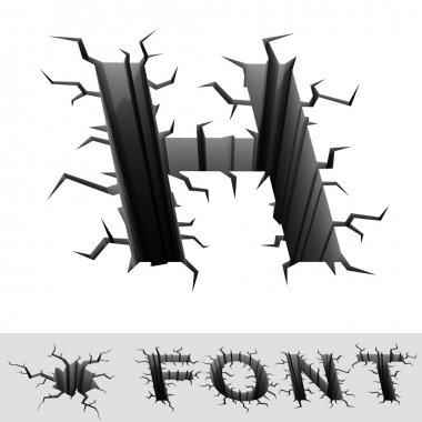 Cracked font letter H
