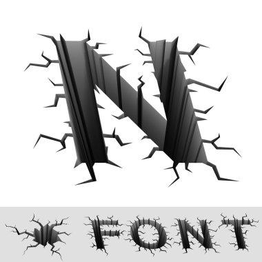 Cracked font letter N
