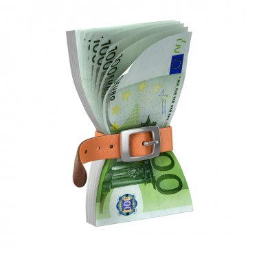 Euro notes with tighten belt