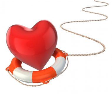 Saving love marriage relationship 3d concept - heart on lifebuoy