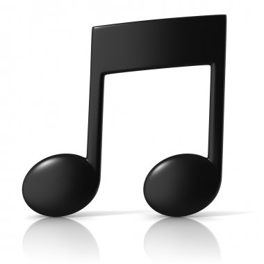 Music note 3d icon on white background