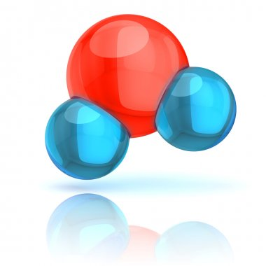 Water molecule solated on white