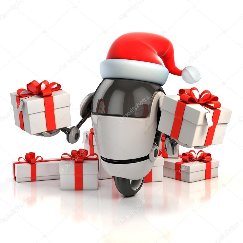Robot santa with gift box - christmas 3d concept