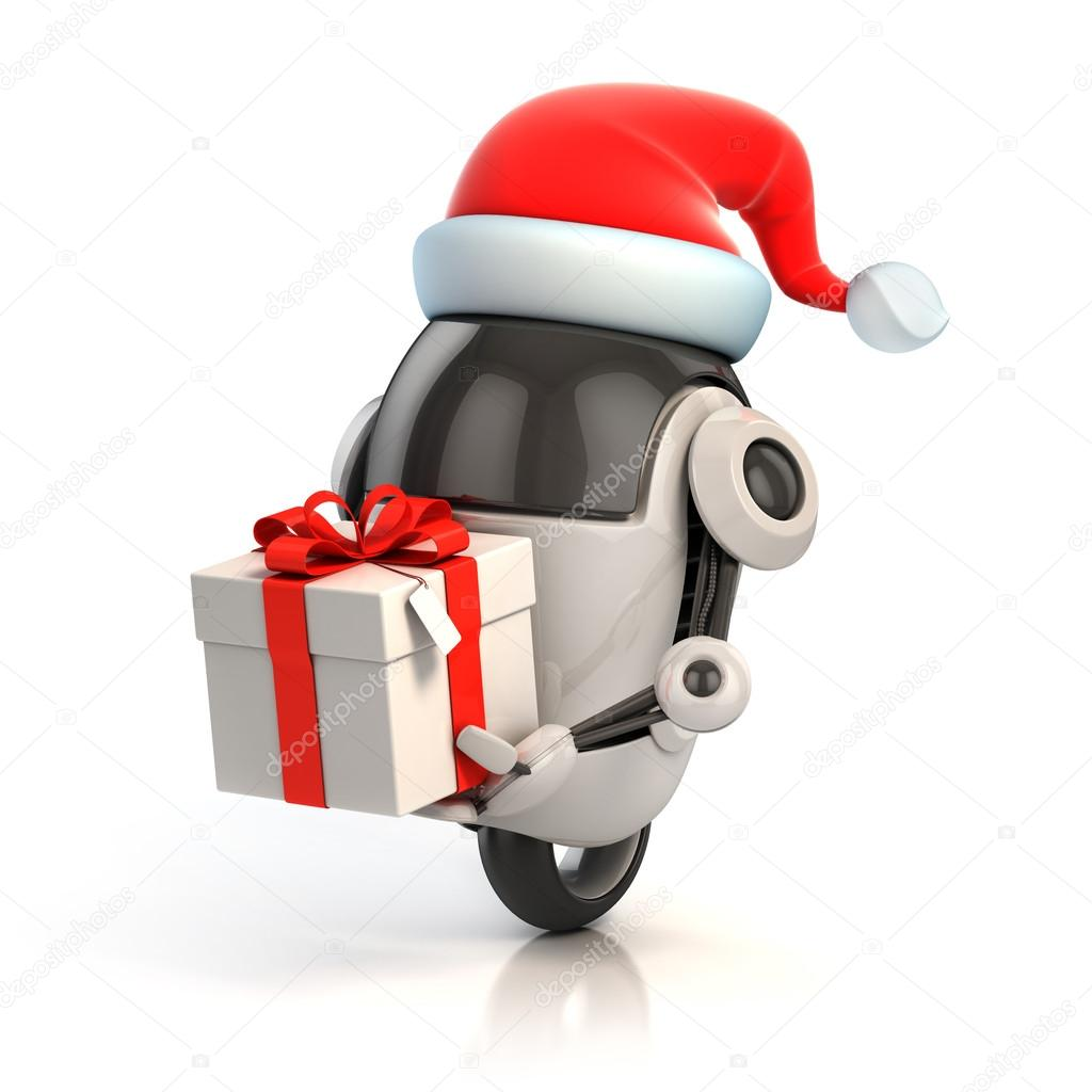 Funny robot with santa's hat and gift box - christmas 3d concept