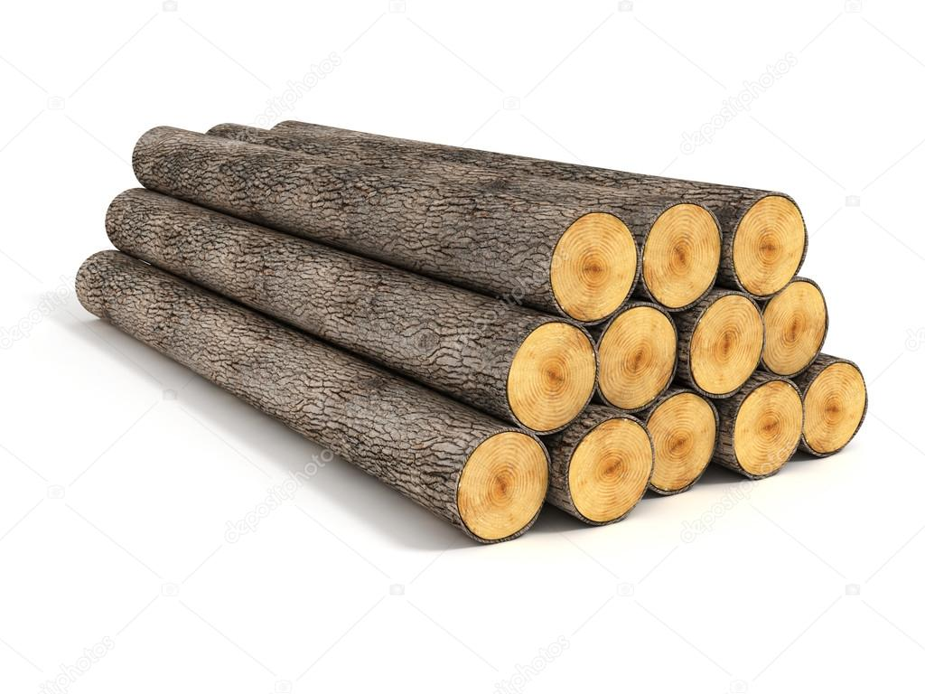 Stack of wood logs on white background