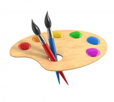 Wooden art palette with paints and brushes 3d illustration stock vector