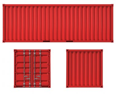 Cargo container front side and back view