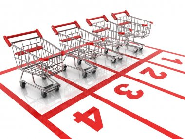 Shopping cart race - sale 3d concept