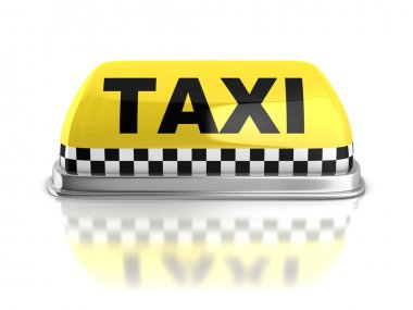 Taxi sign on white background