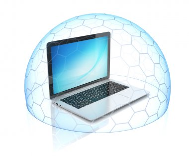 Laptop inside shield - computer security, protection