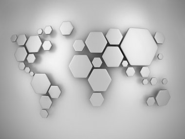 Abstract simplified world map made of hexagons