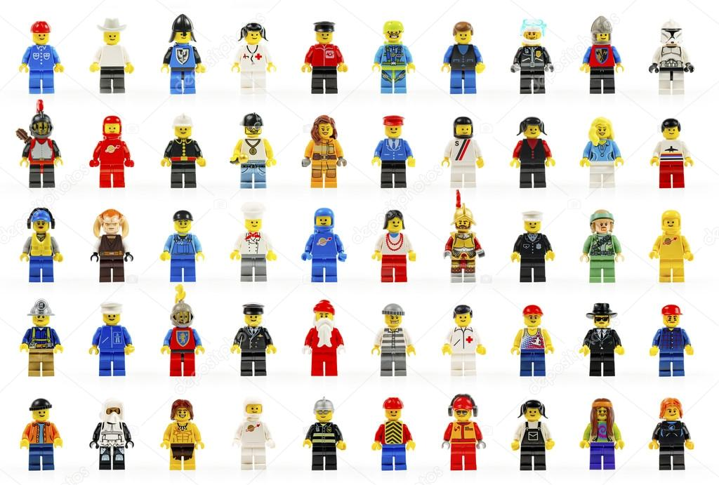 A group of fifty various lego mini figures