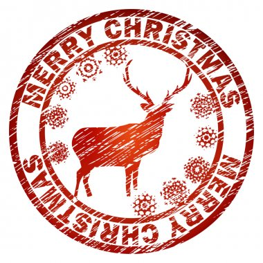 Christmas stamp reindeer and snowflakes. EPS 8