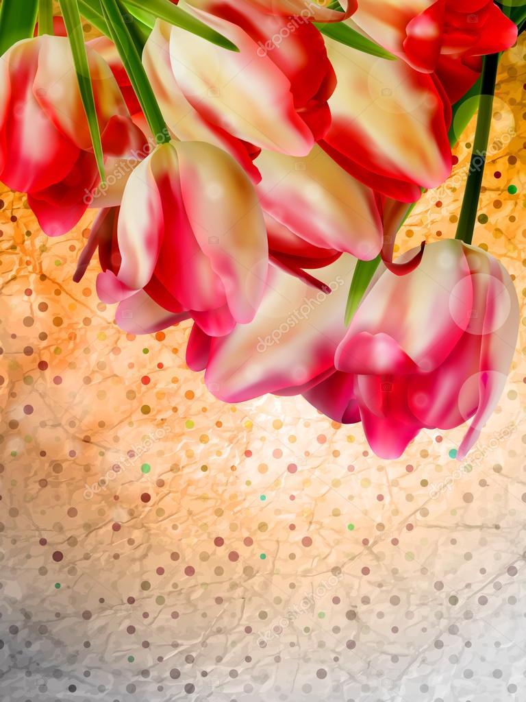 Orange frame with flowers. EPS 10