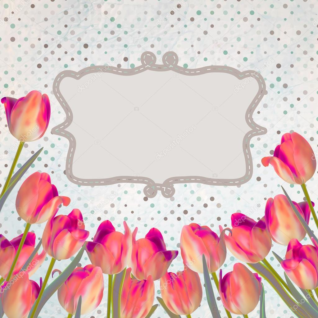 Vintage tulips card with polka dot. EPS 10