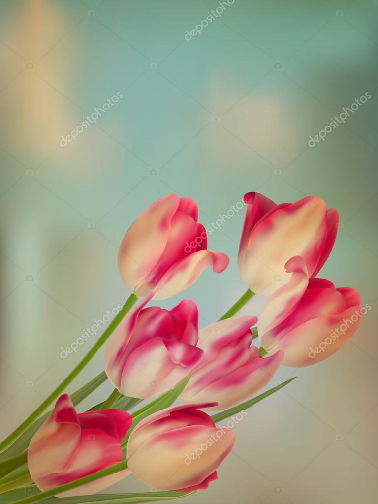 Old paper background with tulips. EPS 10