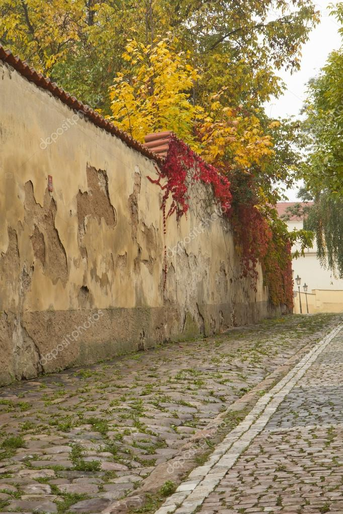 Autumn morning in an old streets of Prague.