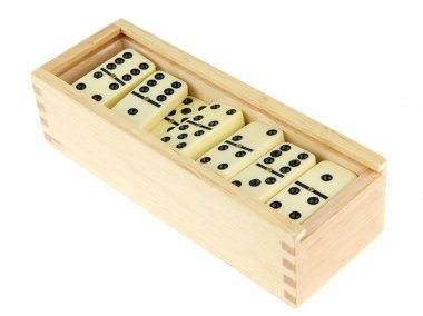 Domino in wooden box