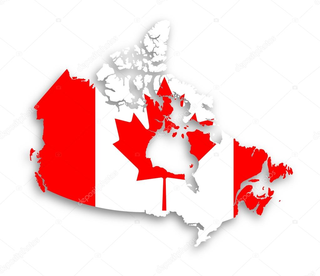 Canada Map With The Flag Inside Stock Photo Michaklootwijk - Canada map with flag