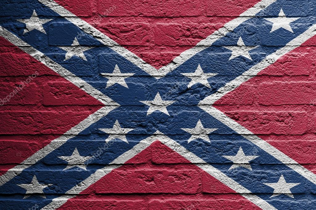 Brick Wall With A Painting Of A Flag Confederate Flag Stock Photo