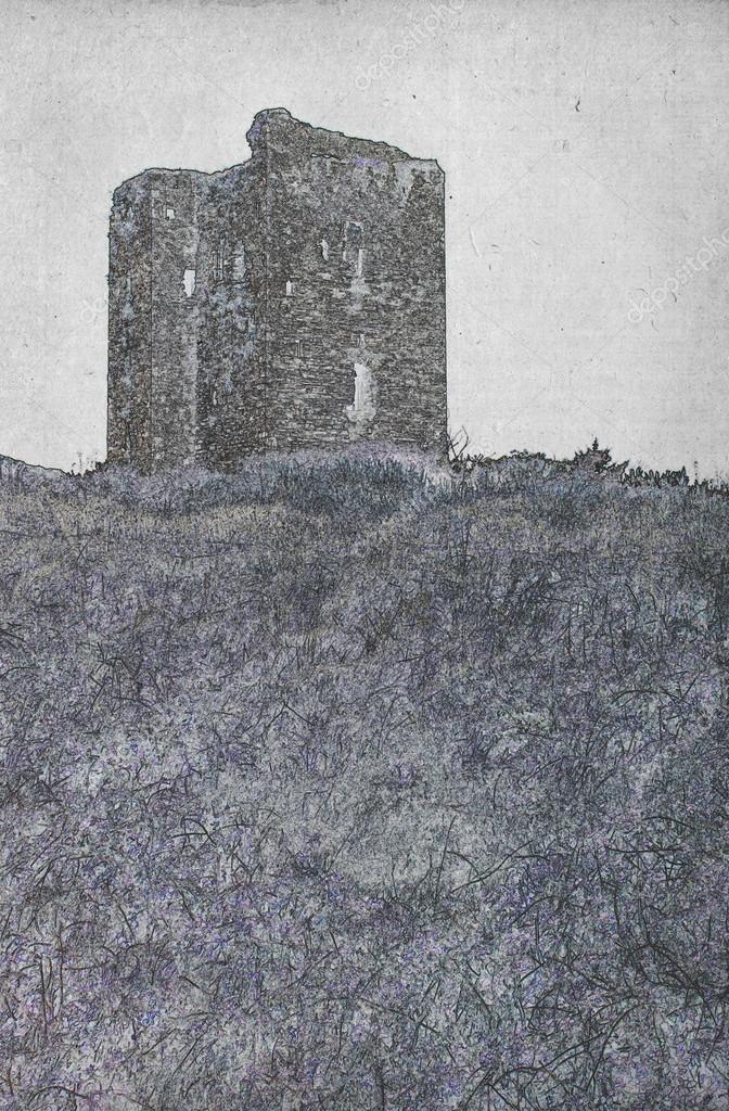 Dessin Des Ruines D Un Château Photographie Michaklootwijk
