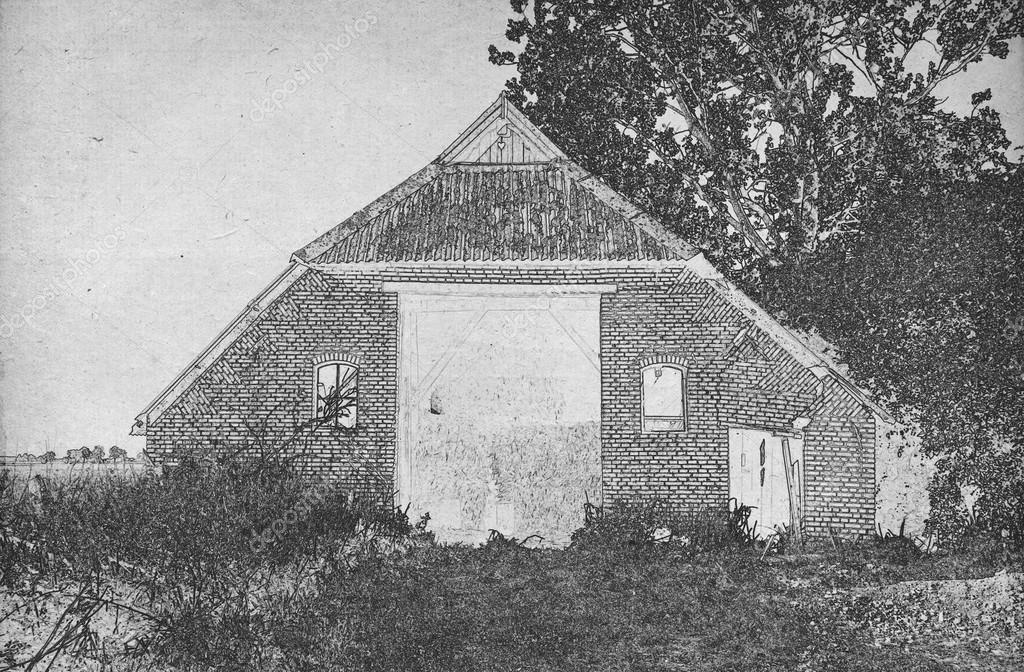 Drawing Of An Old Barn Stock Photo